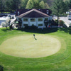 Aerial view of the clubhouse and putting green at Colonial Hills Golf Club