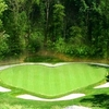 A view of heart shaped green #17 at Rock Harbor Golf Course - Rock
