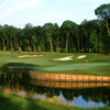 A view of green #4 surrounded by water at Old Hickory Golf Club
