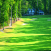 A view over the water of a fairway at Green from Golden Horseshoe Golf Club