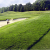 A view of the bunker protecting hole #18 at Fairway Hills Golf Club