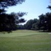 A view of a green with a narrow path on the right side at Crofton Country Club
