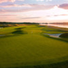 A view of a green guarded by bunkers at River Course from Trump National Golf Club - Washington D.C.