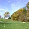 A view of the 13th green flanked by bunkers at Montgomery Country Club