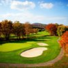 A view of a green protected by sand traps at Blacksburg Country Club