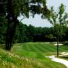 A view of a well protected hole at Packsaddle Ridge Golf Course.