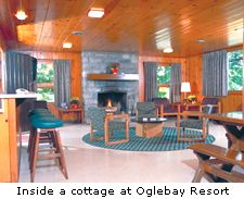 Inside a cottage at Oglebay Resort